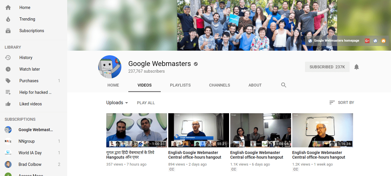 YouTube page for Google Webmaster Central Office hours
