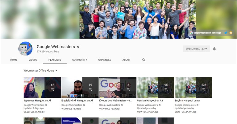 Google Webmasters home page on YouTube, with multiple thumbnails of recordings.