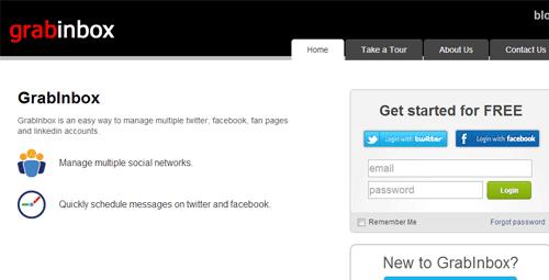 GrabInbox online application for managing social media accounts