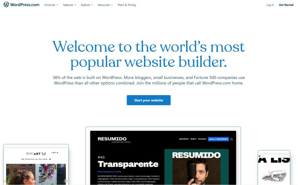 hosted wordpress.com home page.