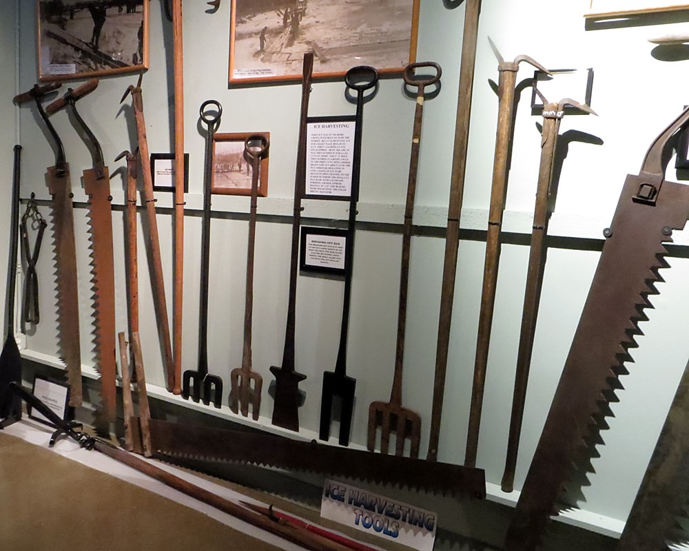 Ice harvesting tools, including saws and ice rakes