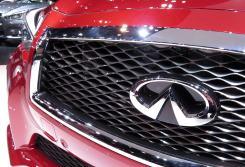 Infiniti car emblem on a red Infiniti