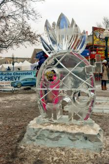 SpongeBob Square Pants sits in the interactive ice sculpture game