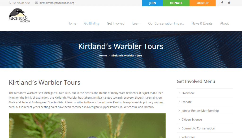 Kirtland's Warbler tour main page, with info on tour dates, locations, place