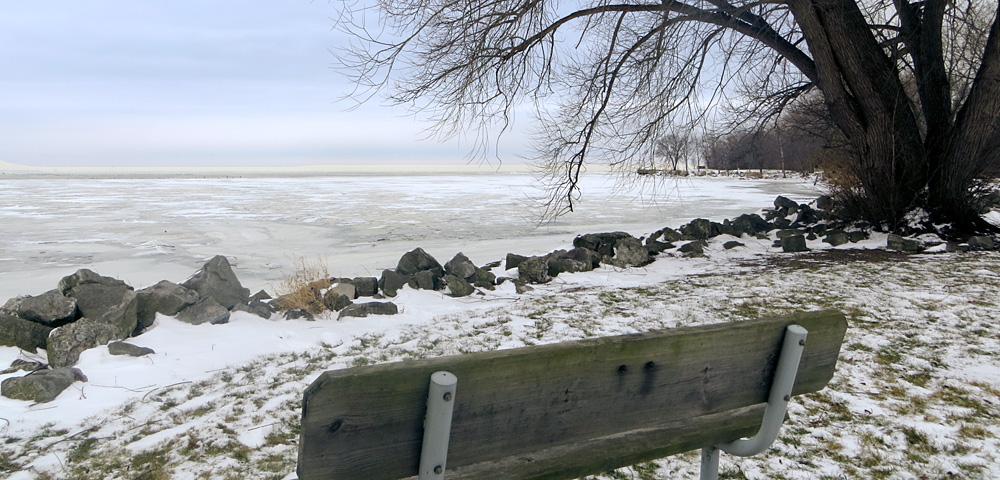 Frozen shoreline of Lake Erie in Brownstown Township, Michigan
