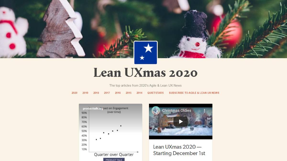 Lean UXmas 2020 calendar.