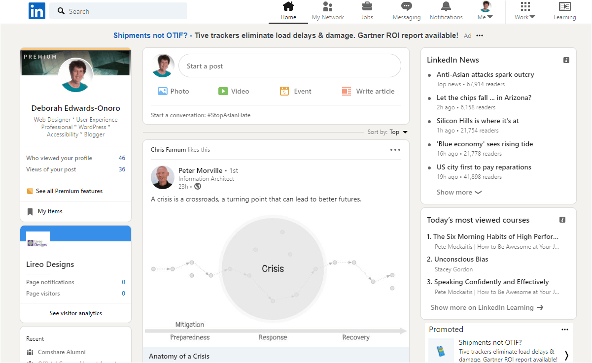 LinkedIn feed showing latest updates, news, and account info.