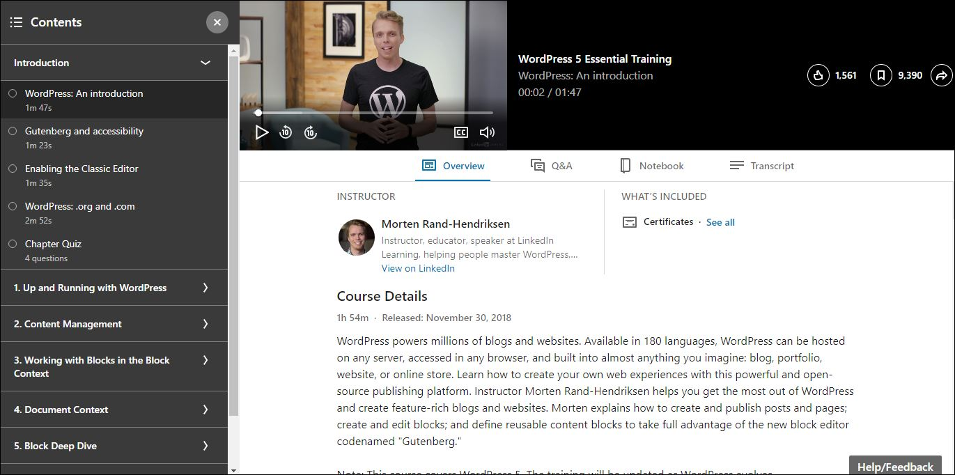 LinkedIn Learning WordPress Training course outline and course details