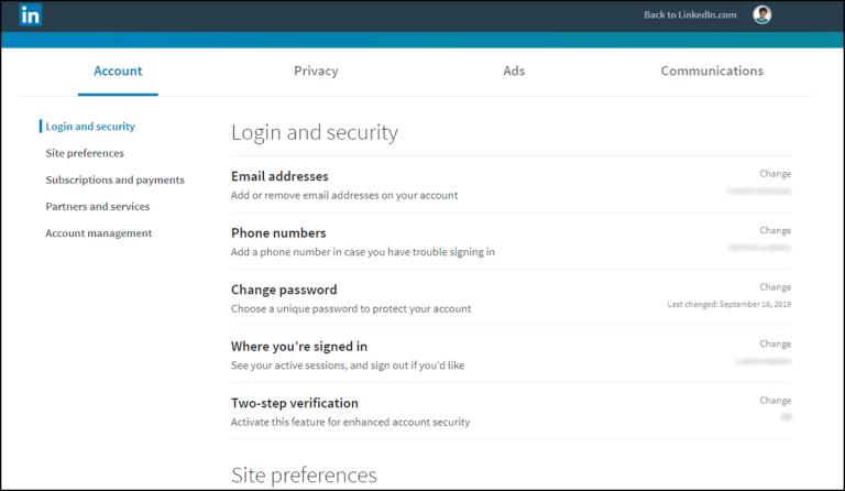 LinkedIn login and security page on desktop