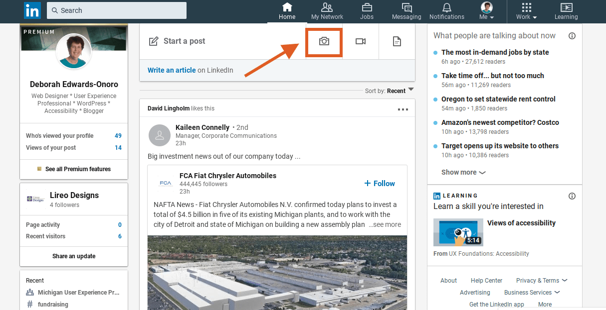 LinkedIn timeline showing post box with image icon option highlighted.