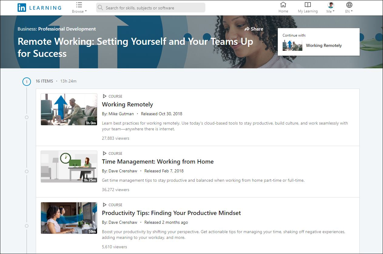 LinkedIn Learning Remote Courses Learning Path