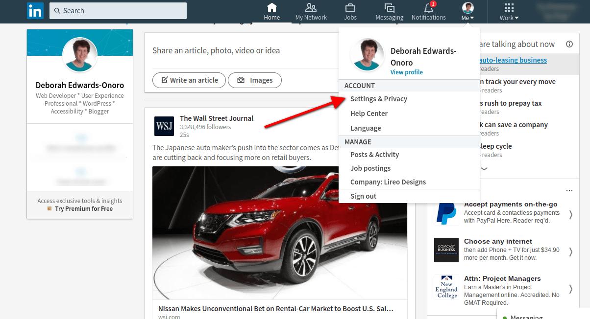 LinkedIn feed with account settings menu