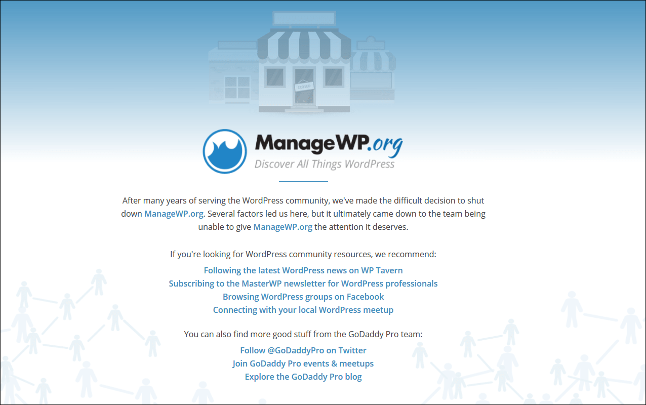 ManageWP community driven news site announcing closure.