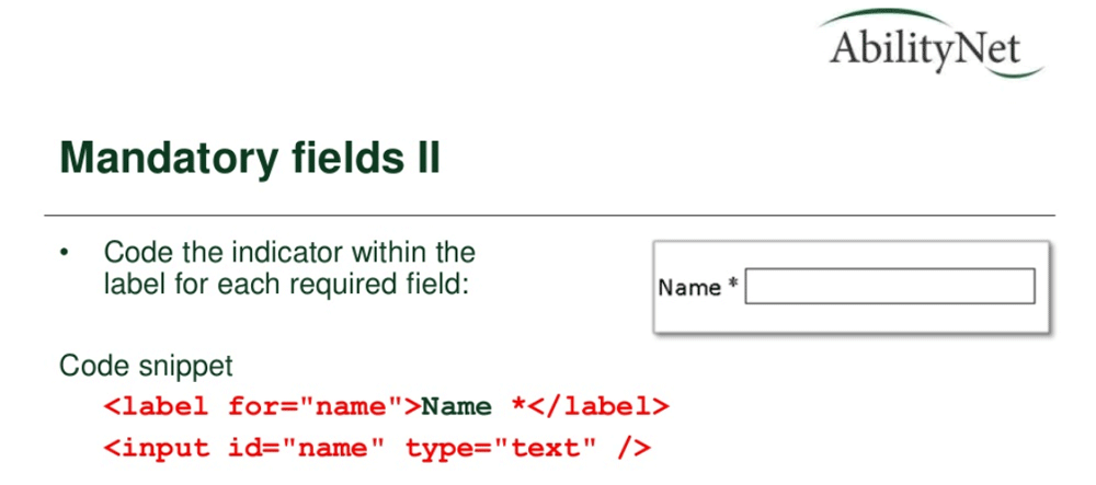 Mandatory form fields