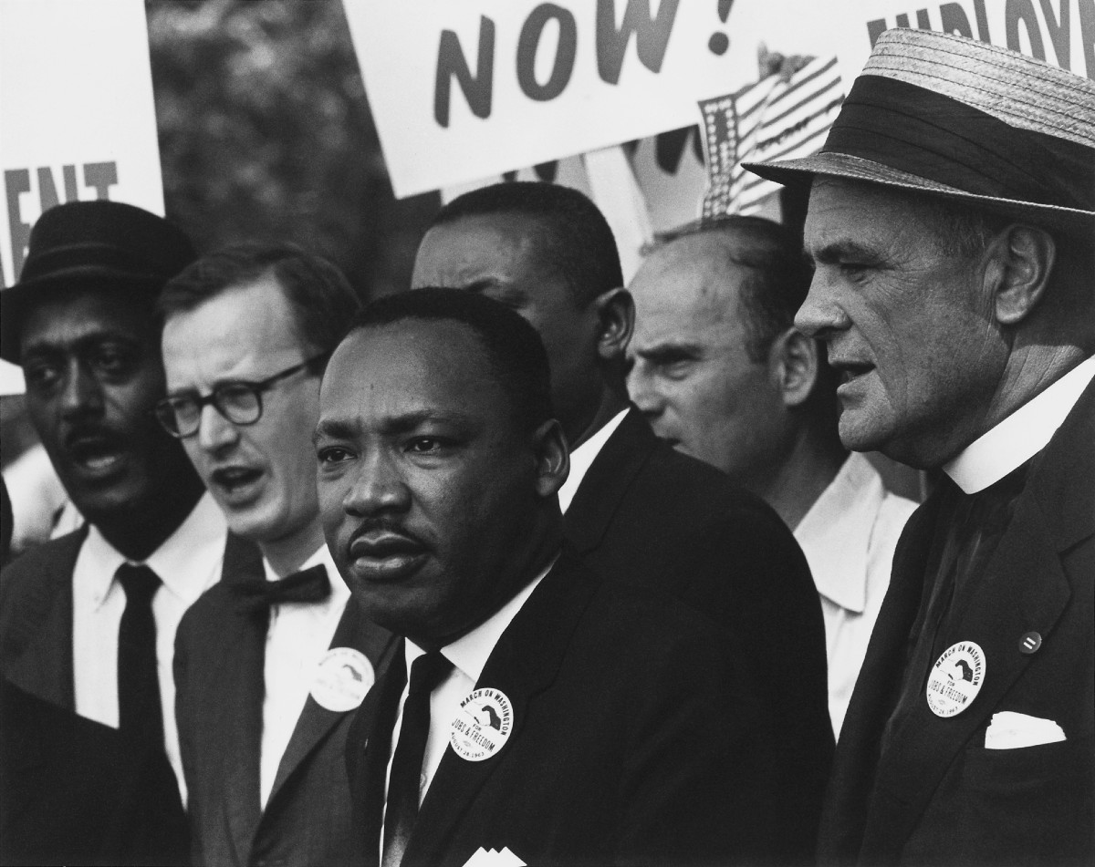 Dr. Martin Luther King, Jr. and Mathew Ahmann in a crowd.