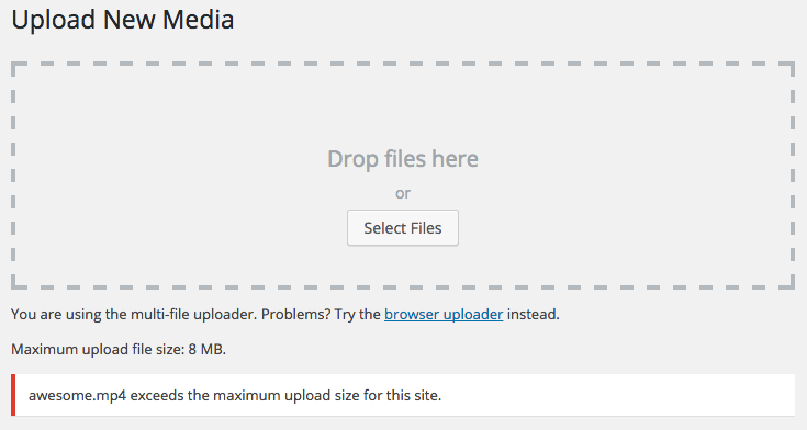 Upload Media interface with max upload size warning message