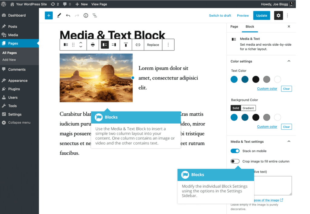 Media & Text block interface with callouts for modifying the individual Block Settings in the sidebar as well as how to insert the two-column layout in content.