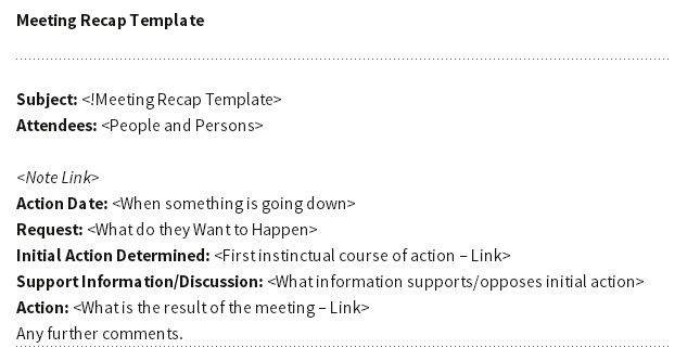 Meeting recap template