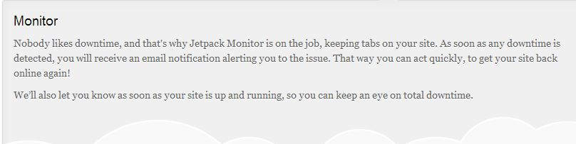 Jetpack Monitor  explanation of email notification sent when the site goes down