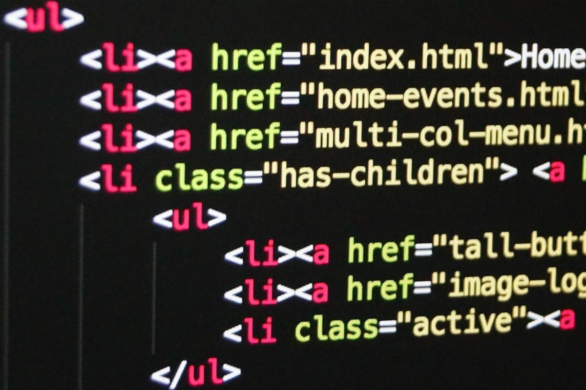 HTML code of links for navigation menu.
