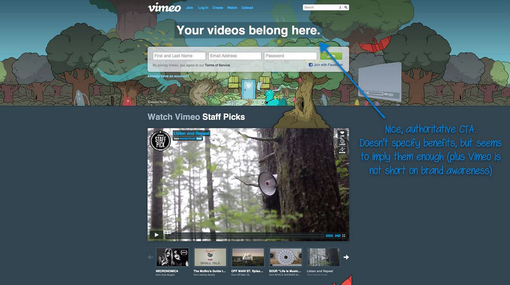 Vimeo homepage annotated with note: Nice authoritative CTA. Doesn't specify benefits, but implies them (plus Vimeo is not short on brand awareness)