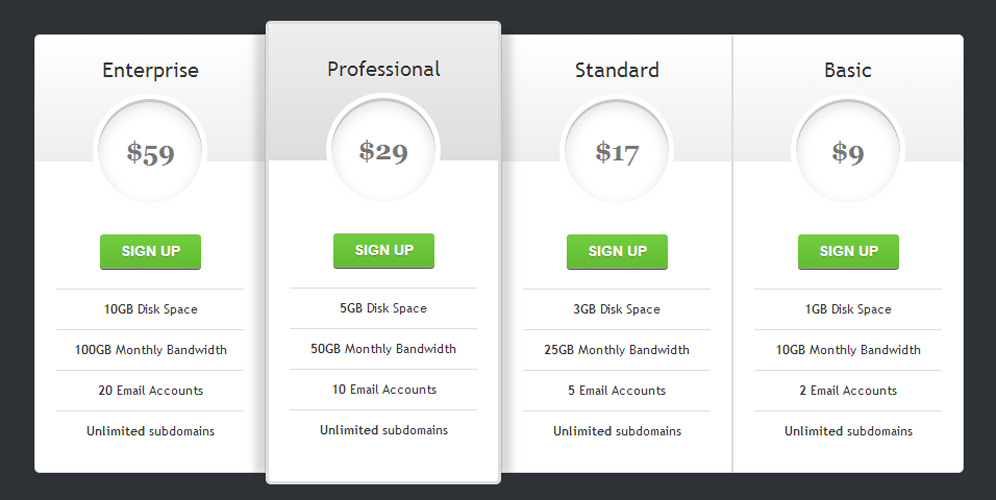 Four vertical column pricing table