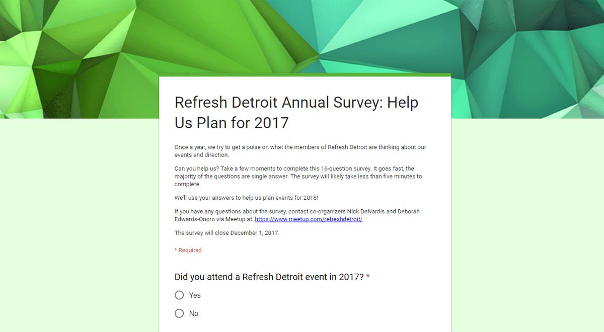 Refresh Detroit annual member survey