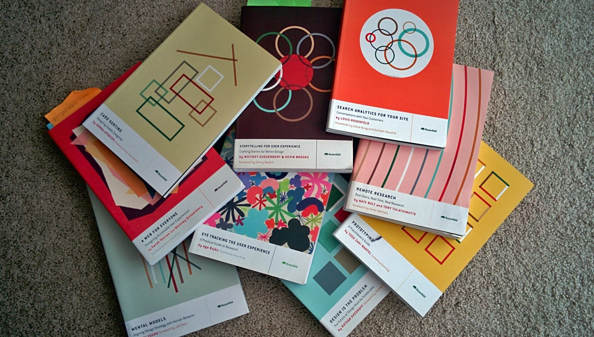 jumble of colorful paperback books by Rosenfeld Media