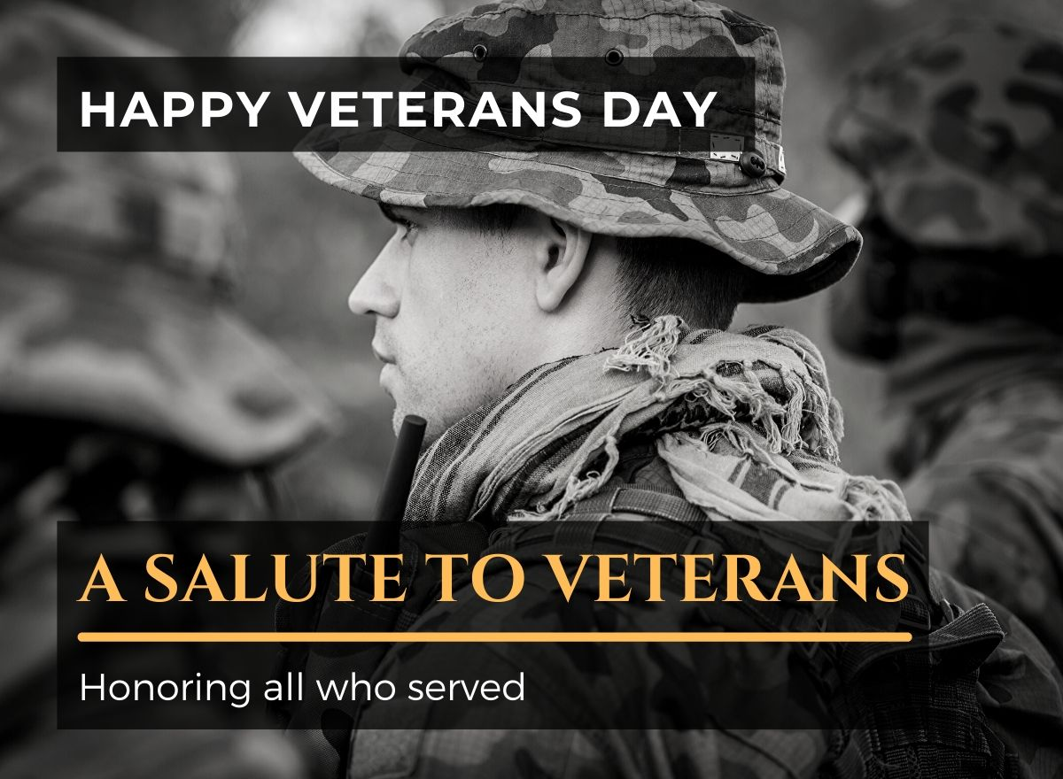 Veteran's day: salute to veterans. Honoring all who served.