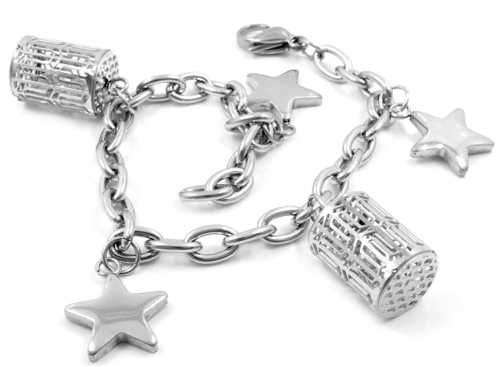 silver charm bracelet with silver five-pointed star charms and other charms
