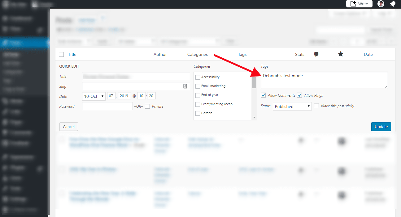 Quick Edit option screen highlighting where to add tag for post.
