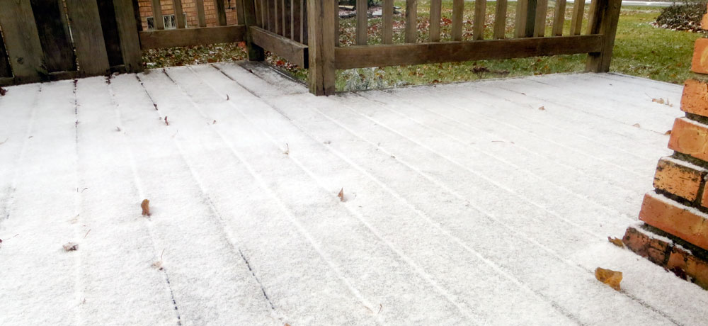 Snowfall on deck