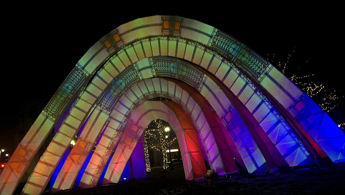 Stereobot arched art installation lights up Grand Circus Park at night