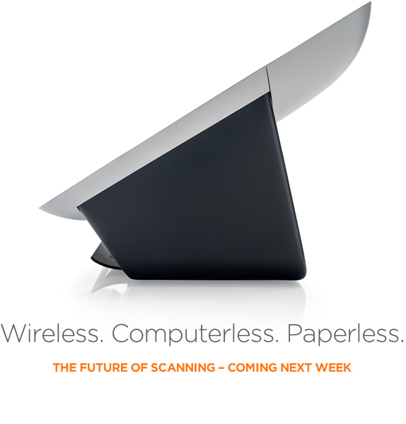 Wireless, computerless, paperless new scanning product from Neat, shown in silhouette