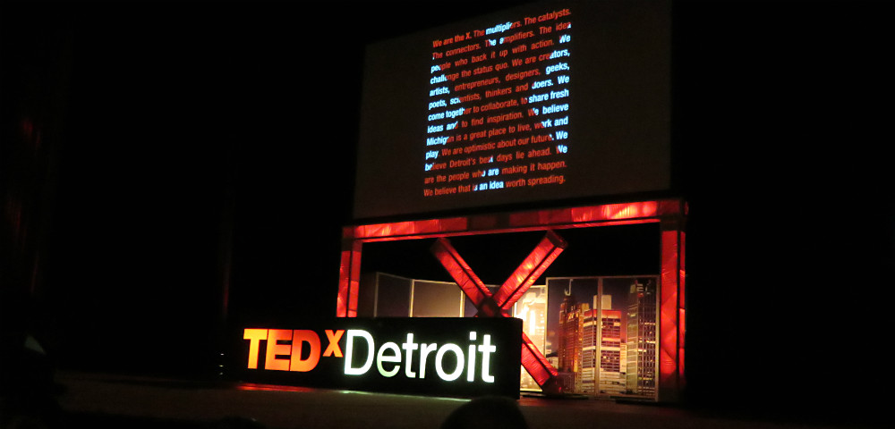 TEDxDetroit sign on stage at Fox Theatre