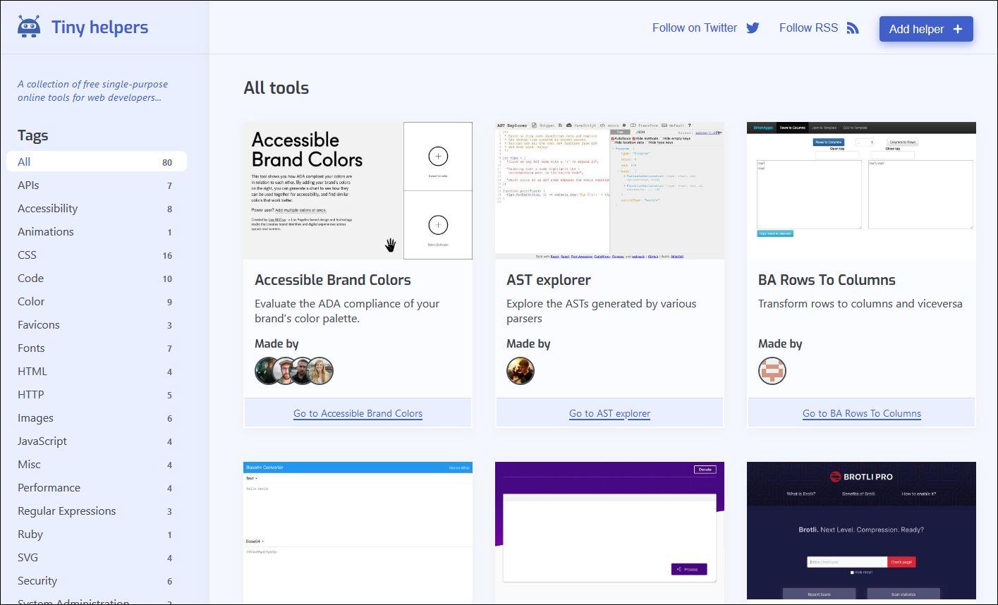 Grid of helpful design and development tools.