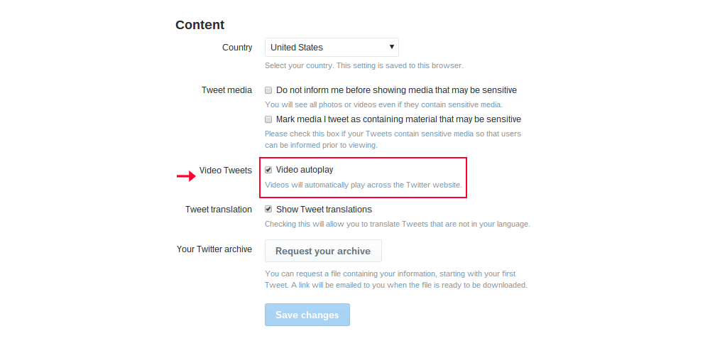 Twitter content settings screen to disable video autoplay
