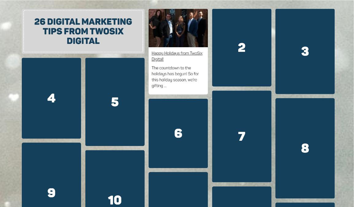 TwoSix Digital Marketing Calendar for 2020.