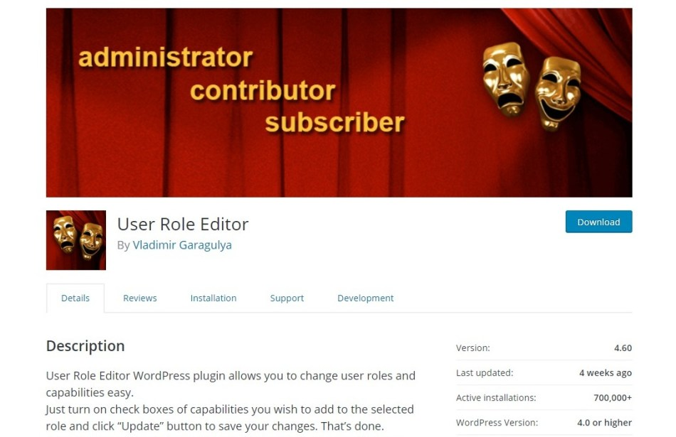User Role Editor plugin page on the WordPress repository, highlighting key features, version, active installations.