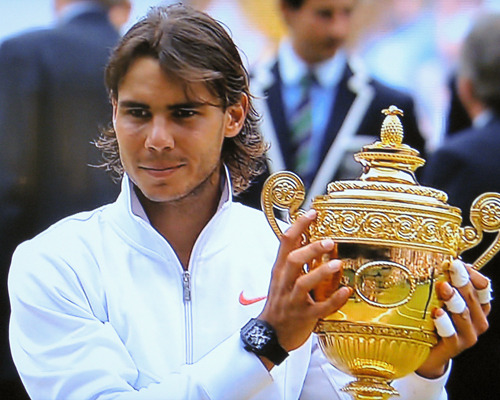 Rafa Nadal holds the Wimbledon trophy after winning the 2010 championship