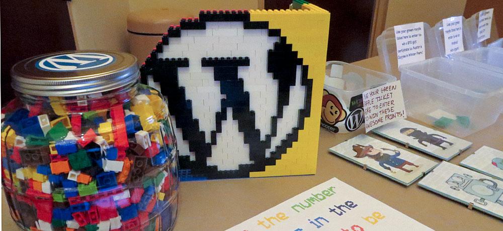 Jar of LEGOS and WordCamp logo made of LEGOs