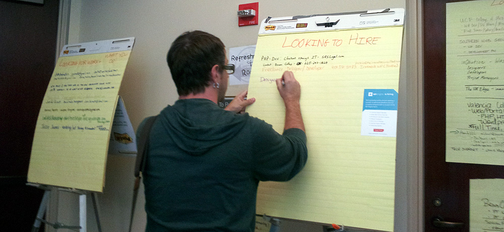 """WordCamp Orlando attendee posting info on the 'Looking to Hire"""" board"""