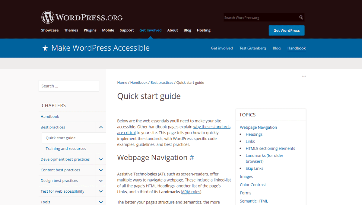 Quick Start Guide of WordPress Accessibility Handbook.