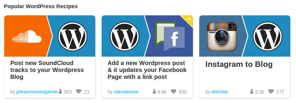 WordPress IFTTT recipes