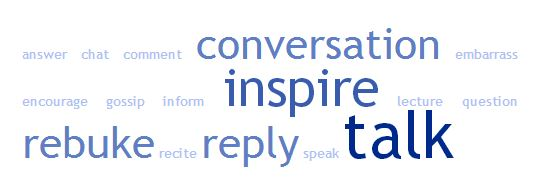 Words matter tag cloud: conversation, inspire, talk, reply