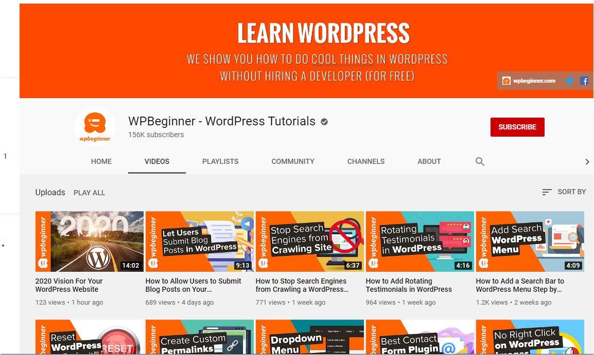 WP Beginner WordPress training videos