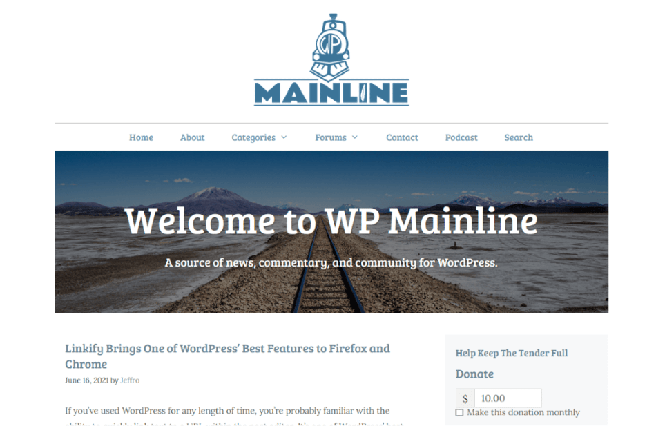 WP Mainline home page.