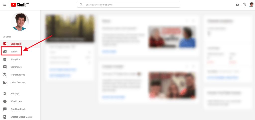 YouTube Studio interface with Videos option highlighted