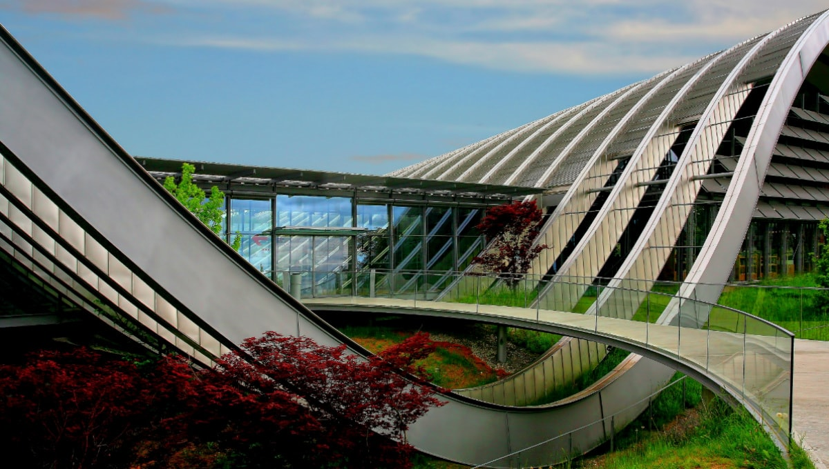 sweeping waves of silver metal form the galleries of the Zentrum Paul Klee museum