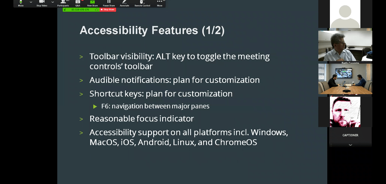 Zoom accessibility features include toolbar visibility, audible notifications, and shortcut keys.
